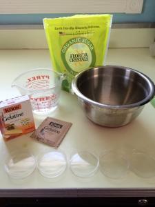 Ingredients to make the gelatin base for sampling.