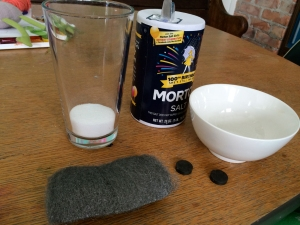 Steel wool, salt, magnets, a glass and a bowl are all we needed...
